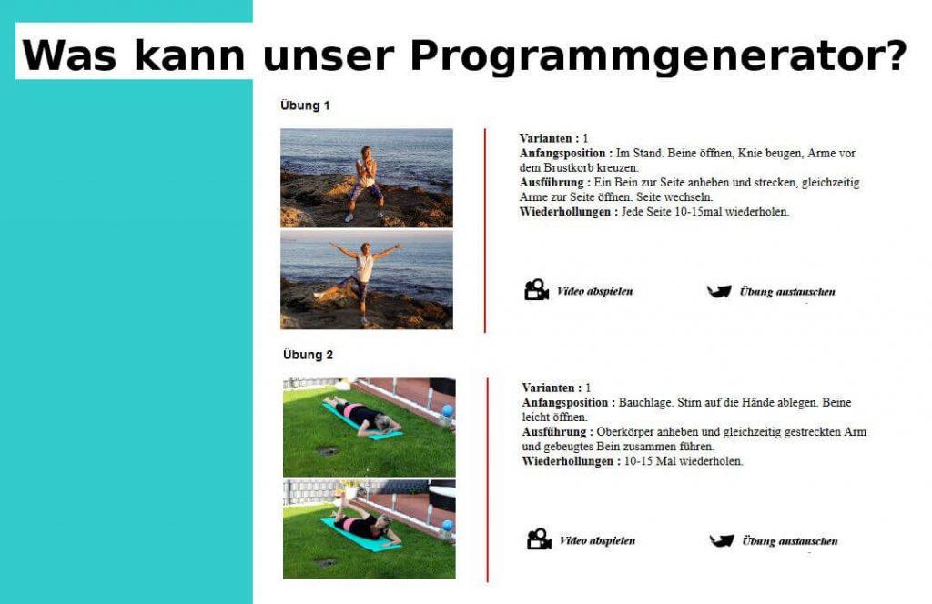 Fitneeuebungen in Programmgenerator